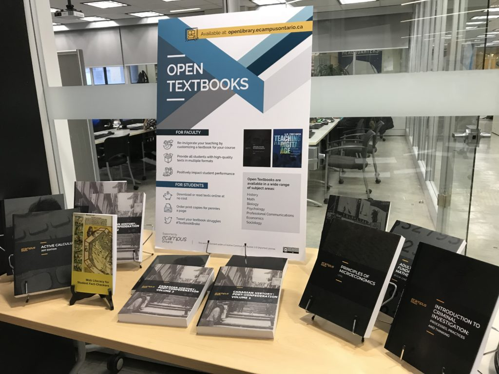 Open Education Week display at the Ryerson Library