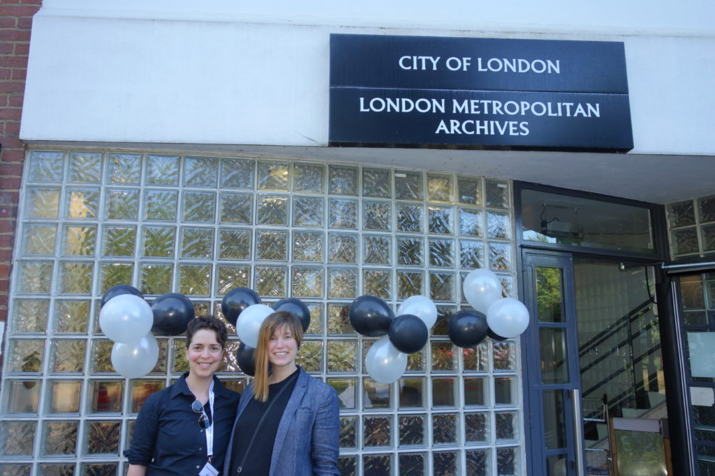 Michelle Schwartz and Constance Crompton at the London Metropolitan Archives