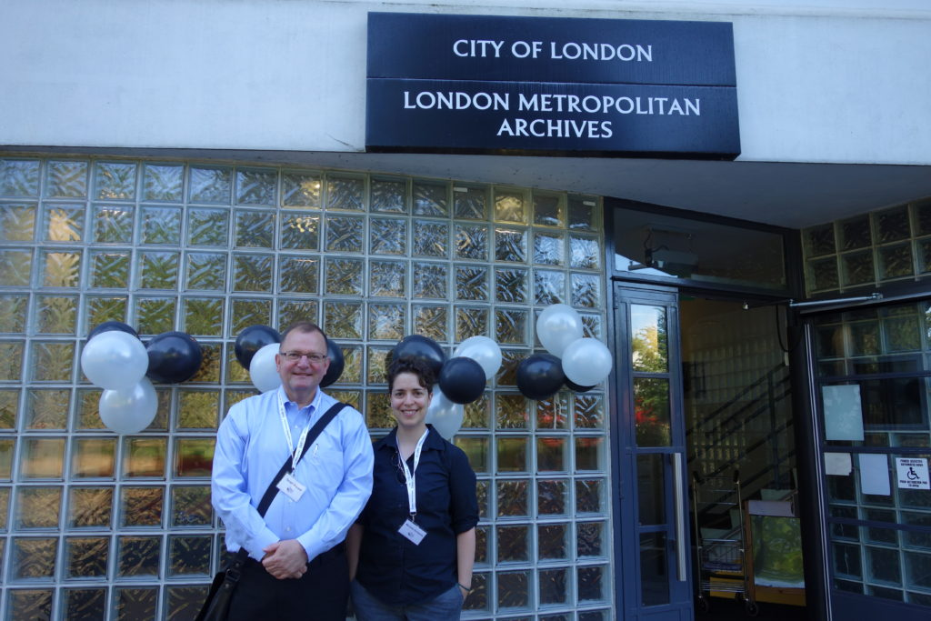 Don McLeod and Michelle Schwartz at the London Metropolitan Archives